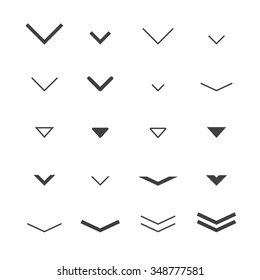 Arrow  buttons down set for scrolling design. Vector trendy design.
