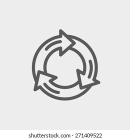 Arrow circle icon thin line for web and mobile, modern minimalistic flat design. Vector dark grey icon on light grey background.