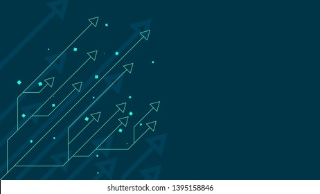 Up arrow circuit style on blue background illustration, copy space composition, digital growth concept.