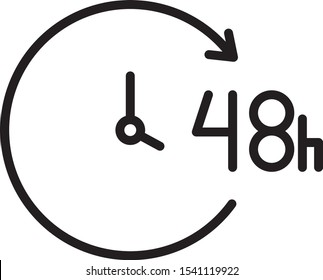arrow with clock, 48 hours icon, line vector illustration