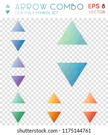 Arrow combo geometric polygonal icons. Alive mosaic style symbol collection. Delightful low poly style. Modern design. Arrow combo icons set for infographics or presentation.
