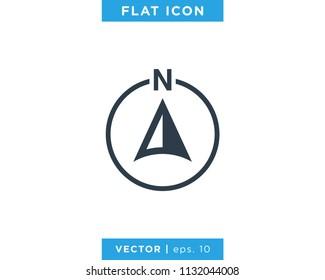 Arrow Compass Icon Vector Logo Template. North Direction.