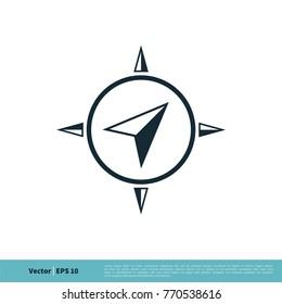 Arrow Compass Navigator Icon Vector Logo Template Illustration Design. Vector EPS 10.