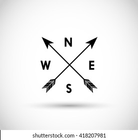 Arrow compass vector icon