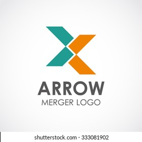 Arrow connect of ribbon abstract vector and logo design or template group business icon of company identity symbol concept