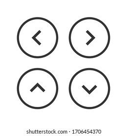 Arrow control button icon set. Menu navigation pointer symbol. Next indicator sign. Simple flat shape direction logo. Isolated on white background. Vector illustration image.