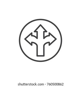 Arrow cross, three-way line icon, outline vector sign, linear style pictogram isolated on white. Different directional arrows symbol, logo illustration. Editable stroke