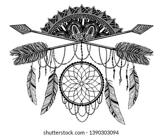 ddd953290951a Arrow crossing amulet in ethical and mandala in style tattoo.Black color  graphic in white