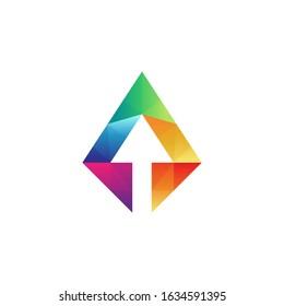 Arrow crystal colorful logo concept, vector prism arrow gradient color, mosaic shape style