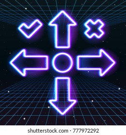 Arrow or cursor icons with retro 80s neon game style. Controller keys with direction cross, on and off buttons on gamepad
