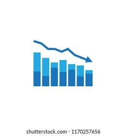 arrow decrease icon. dollar money fall down symbol. economy stretching rising drop. Business loss crisis decrease. cost reduction bankrupt icon. vector illustration.