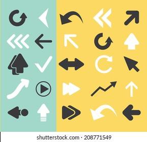 arrow, direction black flat icons, signs, symbols set, vector