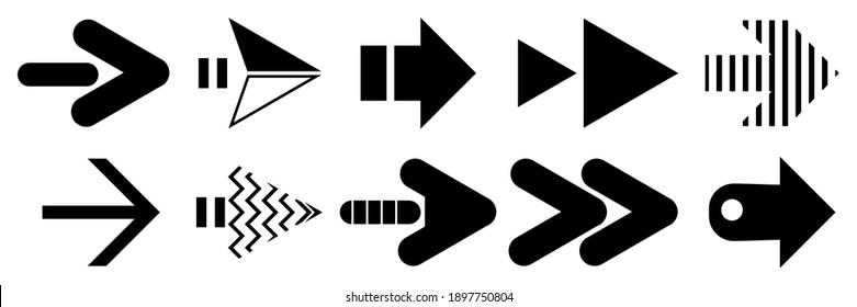 arrow direction symbol consists of ten shapes