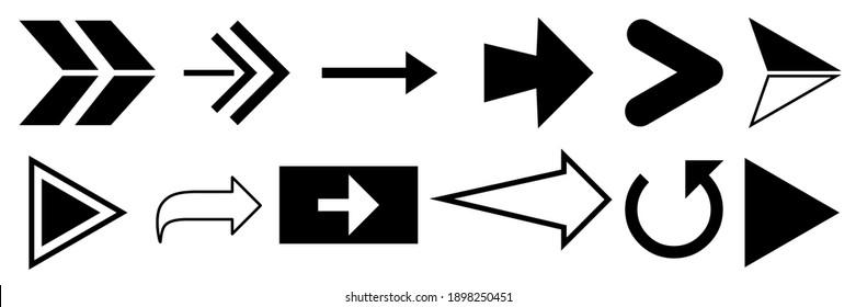 arrow direction symbols of twelve different shapes