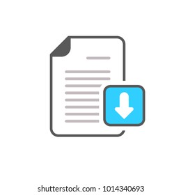 Arrow document download file page icon. Download, icon, arrow, art, computer, document, flat, app, background, business, button