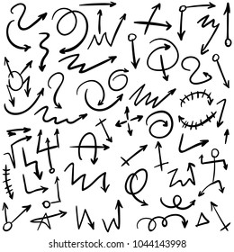 Arrow doodles vector. A set of simple sketches of arrows. Up, down, left, right ones. The effect of a pencil sketch isolated on white background.. Vector eps 10.