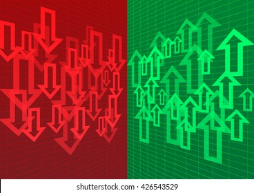 Arrow Up and Down Abstract Background Red Green Stock