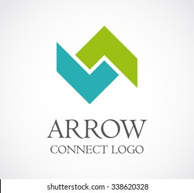 Arrow up and down connection abstract vector and logo design or template growing business icon of company identity symbol concept