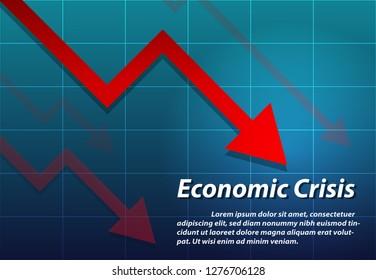 Arrow down , Economic crisis background, vector