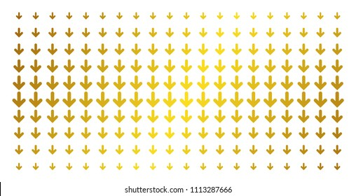 Arrow down icon golden halftone pattern. Vector arrow down objects are organized into halftone matrix with inclined golden gradient. Constructed for backgrounds, covers, templates and luxury concepts.