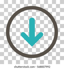 Arrow Down rounded icon. Vector illustration style is flat iconic bicolor symbol inside a circle, grey and cyan colors, transparent background. Designed for web and software interfaces.