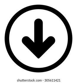Arrow Down vector icon. This rounded flat symbol is drawn with black color on a white background.