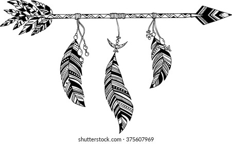 Arrow in ethnic pattern with feathers
