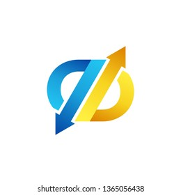 arrow exchange letter b logo symbol icon, arrows letter q abstract business logo vector design