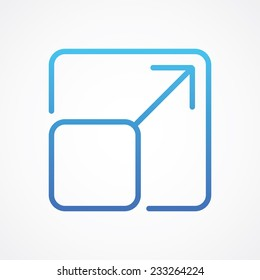 Arrow Expand Fullscreen Scale icon, vector illustration for web mobile application. Flat, Metro, Simple design style. ESP10