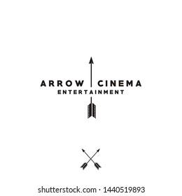 Arrow and Film Stripes for Movie Cinema Productions logo design