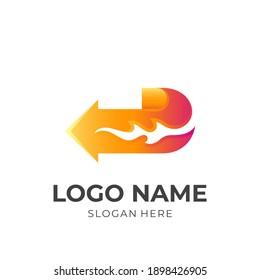 arrow fire logo, arrow and fire, combination logo with 3d  orange color style