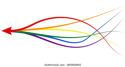 arrow formed by multiple merging lgbt pride colourful lines on white background. Partnership, merger, alliance and integration concept