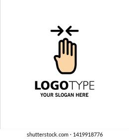 Arrow, Four Finger, Gesture, Pinch Business Logo Template. Flat Color