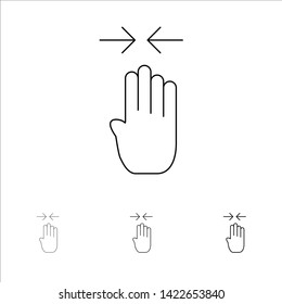 Arrow, Four Finger, Gesture, Pinch Bold and thin black line icon set