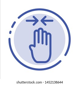 Arrow, Four Finger, Gesture, Pinch Blue Dotted Line Line Icon
