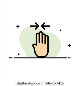 Arrow, Four Finger, Gesture, Pinch  Business Flat Line Filled Icon Vector Banner Template. Vector Icon Template background