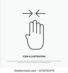 Arrow, Four Finger, Gesture, Pinch Line Icon Vector. Vector Icon Template background