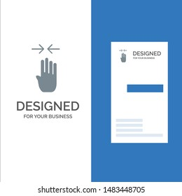 Arrow, Four Finger, Gesture, Pinch Grey Logo Design and Business Card Template