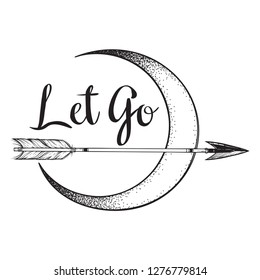 Arrow in front of the crescent moon line art and dot work. Boho sticker, print or blackwork flash tattoo art design hand drawn vector illustration