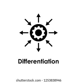 arrow, gear, settings, differentiation icon. One of business icons for websites, web design, mobile app