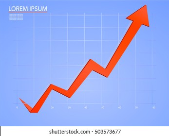 Up arrow graph on a blue background