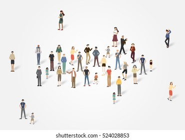 Arrow group of people with copyspace.Vector illustration
