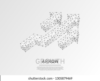 Arrow growth, success, team work sign. Three arrow goes up wireframe digital 3d illustration. Low poly colaboration concept with lines, dots on white background. Vector origami style polygonal RGB