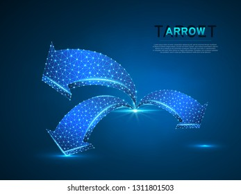 Arrow growth, success, team work sign. Three arrow goes up wireframe digital 3d illustration. Low poly colaboration concept with lines, dots on blue background. Vector neon polygonal RGB color