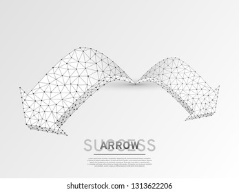 Arrow growth, success, team work sign. Two arrow goes forward wireframe digital 3d illustration. Low poly colaboration concept with lines, dots on white background. Vector origami style polygonal RGB