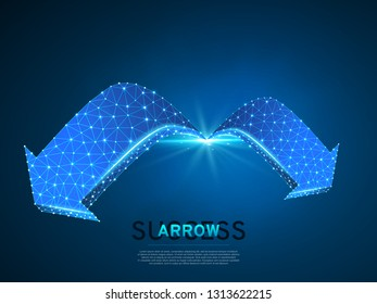 Arrow growth, success, team work sign. Two arrow goes forward wireframe digital 3d illustration. Low poly colaboration concept with lines, dots on blue background. Vector neon polygonal RGB color