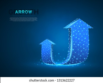 Arrow growth, success, team work sign. Two arrow goes up wireframe digital 3d illustration. Low poly colaboration concept with lines, dots on blue background. Vector neon polygonal RGB color