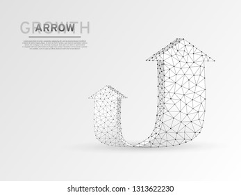 Arrow growth, success, team work sign. Two arrow goes up wireframe digital 3d illustration. Low poly colaboration concept with lines, dots on white background. Vector origami style polygonal RGB color