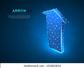 Arrow growth, success, team work sign. One arrow goes up wireframe digital 3d illustration. Low poly colaboration concept with lines, dots on blue background. Vector neon polygonal RGB