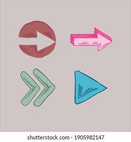 Arrow hand drawing art vector set art illustration